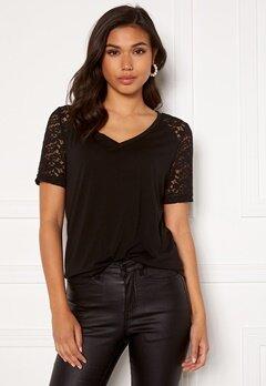 Jacqueline de Yong Stinne S/S Lace Top Black Bubbleroom.se