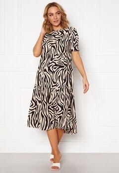 Jacqueline de Yong Tara S/S Midi Dress TapiocaBlack Zebra Bubbleroom.se