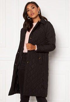 Jacqueline de Yong Tora Long Quilt Trenchcoat Black Bubbleroom.se