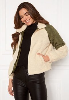 Jacqueline de Yong Zia Teddy Mix Jacket Birch Bubbleroom.se