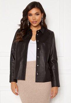 JOFAMA Anne Leather Shirt Jacket Black Bubbleroom.se