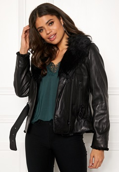 JOFAMA Emma Leather Jacket 00 Black Bubbleroom.se