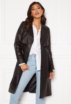 JOFAMA Jill Leather Trench Coat Black Bubbleroom.se