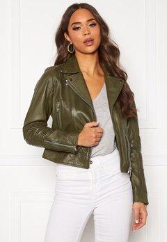 JOFAMA Kajta Leather Jacket Green Bubbleroom.se