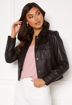 JOFAMA Lynn Leather Jacket Black bubbleroom.se