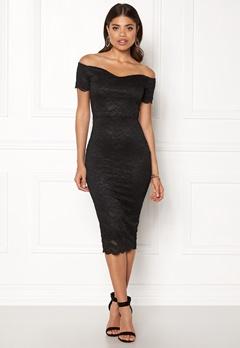 John Zack Bardot Lace Midi Dress Black Bubbleroom.se