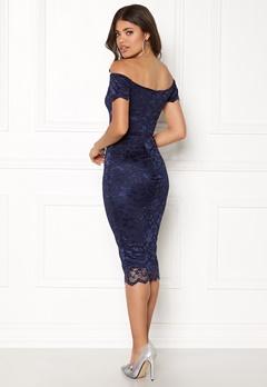 John Zack Bardot Lace Midi Dress Navy Bubbleroom.se