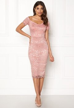 John Zack Bardot Lace Midi Dress Nude Bubbleroom.fi