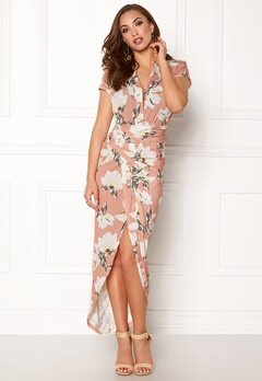 John Zack Cap Sleeve Rouch Dress Pink Floral Bubbleroom.se