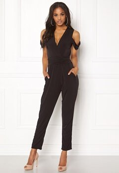 John Zack Cold Shoulder Jumpsuit Black Bubbleroom.se