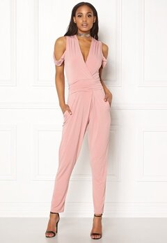 John Zack Cold Shoulder Jumpsuit Dusty Pink Bubbleroom.fi
