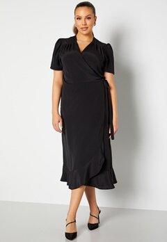John Zack Curve Short Sleeve Wrap Frill Curve Dress Black bubbleroom.se