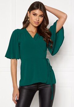 John Zack Flared Sleeve Wrap Blouse Forest Green Bubbleroom.se