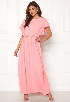 John Zack Frill Sleeve Maxi Dress Rose Pink Bubbleroom.se