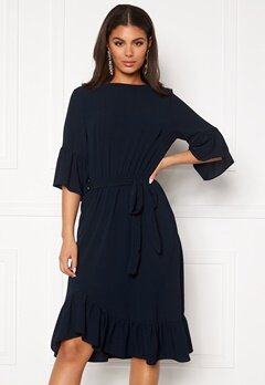 John Zack Frill Sleeve Midi Dress Navy Bubbleroom.se