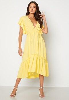 John Zack Frill Sleeve V Neck Midaxi Dress Lemon Bubbleroom.se