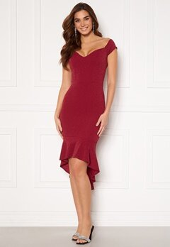 John Zack Glitter Off Shoulder Frill High Low Dress Wine Bubbleroom.se