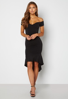 John Zack Glitter Off Shoulder Frill High Low Dress Black Bubbleroom.se