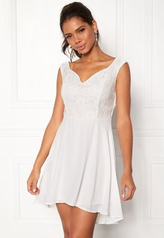 John Zack Lace Bodice H/L Dress White Bubbleroom.se