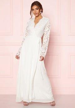 John Zack Lace Bodice Wrap Dress Ivory Bubbleroom.se