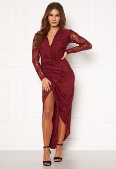 John Zack Lace Long Sleeve Rouch Dress Burgundy Bubbleroom.se