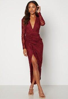 John Zack Lace Long Sleeve Rouch Dress Burgundy Bubbleroom.se