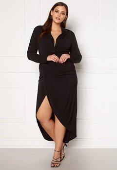 John Zack Curve Long Sleeve Rouch Curve Dress Black Bubbleroom.se