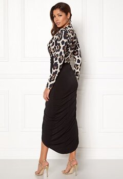 John Zack Long Sleeve Rouch Dress Animal/black Bubbleroom.se