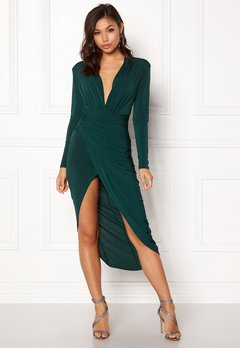 John Zack Long Sleeve Rouch Dress Bottle Green Bubbleroom.dk