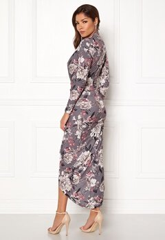 John Zack Long Sleeve Rouch Dress Grey Floral Bubbleroom.se