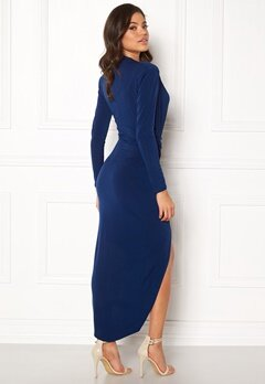 John Zack Long Sleeve Rouch Dress Navy Bubbleroom.dk