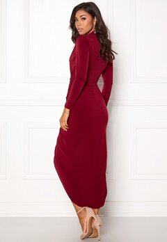 John Zack Long Sleeve Rouch Dress Wine Bubbleroom.se