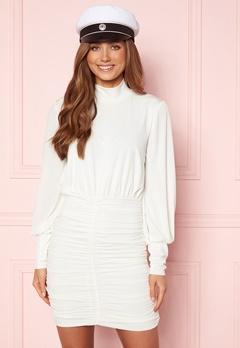 John Zack Long Sleeve Rouched Mini Dress White Bubbleroom.se
