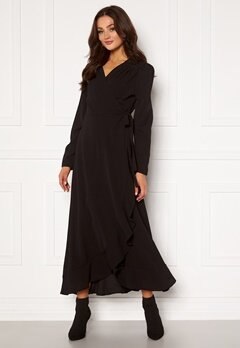 John Zack Long Sleeve Wrap Frill Maxi Dress Black Bubbleroom.se