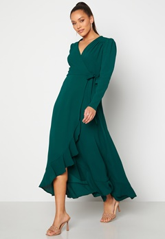 John Zack Long Sleeve Wrap Frill Maxi Dress Forest Green Bubbleroom.se