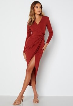 John Zack Long Sleeve Wrap Maxi Dress Burgundy bubbleroom.se