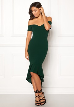John Zack Off Shoulder High Dress Bottle Green Bubbleroom.se