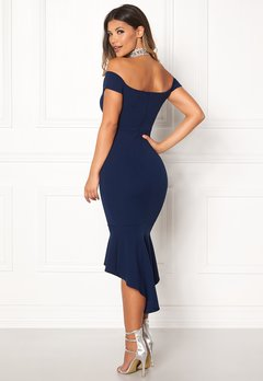 John Zack Off Shoulder High Dress Navy Bubbleroom.se