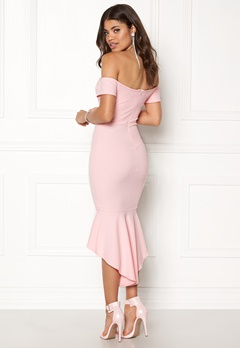 John Zack Off Shoulder High Dress Pink Bubbleroom.dk