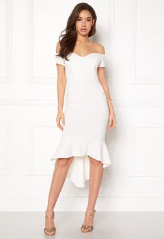 John Zack Off Shoulder High Dress White Bubbleroom.se