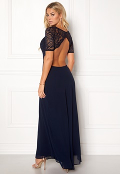 John Zack Open Back Lace Maxi Dress Navy Bubbleroom.se