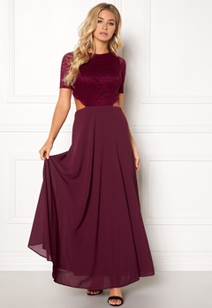 John Zack Open Back Lace Maxi Dress Wine Bubbleroom.se