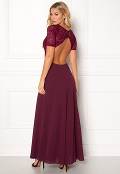 John Zack One Back Lace Maxi Dress Wine Bubbleroom.no