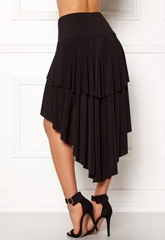 John Zack Ruffle Skirt High Low Hem Black Bubbleroom.se
