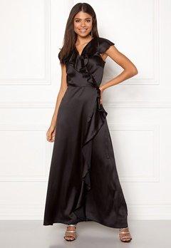 John Zack Ruffle Wrap Maxi Dress Black Bubbleroom.se