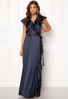 John Zack Ruffle Wrap Maxi Dress Navy Bubbleroom.se
