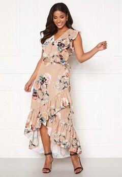 John Zack Ruffle Wrap Midaxi Dress Beige Floral Bubbleroom.se