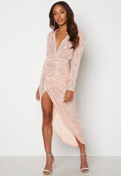 John Zack Sequin Rouch Maxi Dress Blush Bubbleroom.se