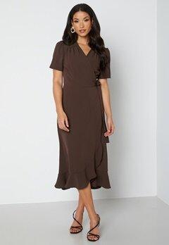 John Zack Short Sleeve Wrap Dress Chocolate bubbleroom.se