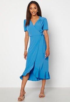 John Zack Short Sleeve Wrap Dress Dusty Blue bubbleroom.se